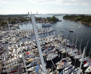 The marina of Sandhamn in the outer archipelago of Stockholm. Stockholm has among the highest boat ownerships per capita in the world.