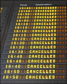 Flight cancelled? Try to rebook or get a refund.